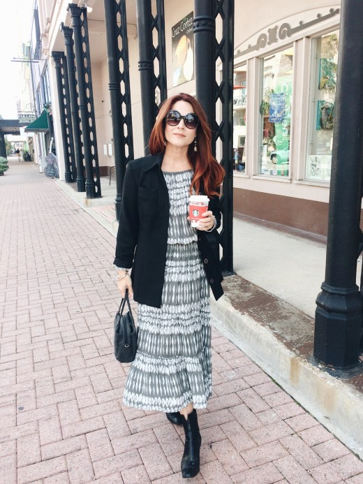 styling dresses with a blazer, womens relaxed business attire, black blazer, black sunglasses, wool bag, black booties, stuart weitzman, evereve clothing