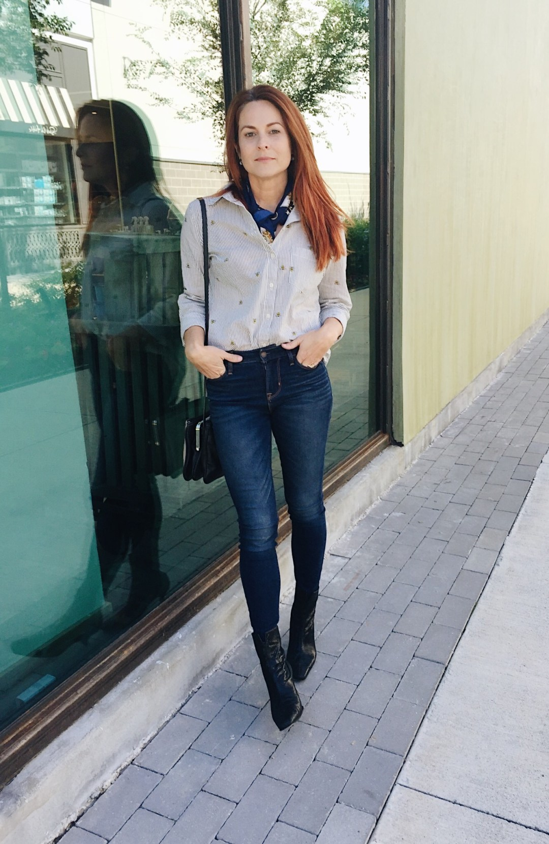 old navy, high waisted jeans, buttom up shirt, bumble bee shirt, black booties, stuart weitaman, nine west bag, styling with a silk scarf, #casual style