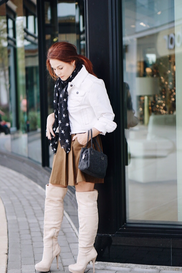 pleated skirts, styling with scarves, over the knee boots outfits