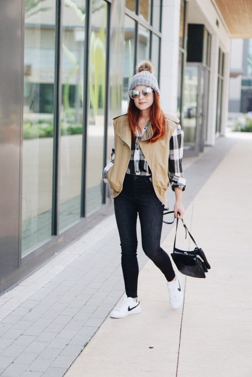 white sneakers, fall fashion, nine west crossbody, nike, red hair, black and white plaid, utility vest, black jeans