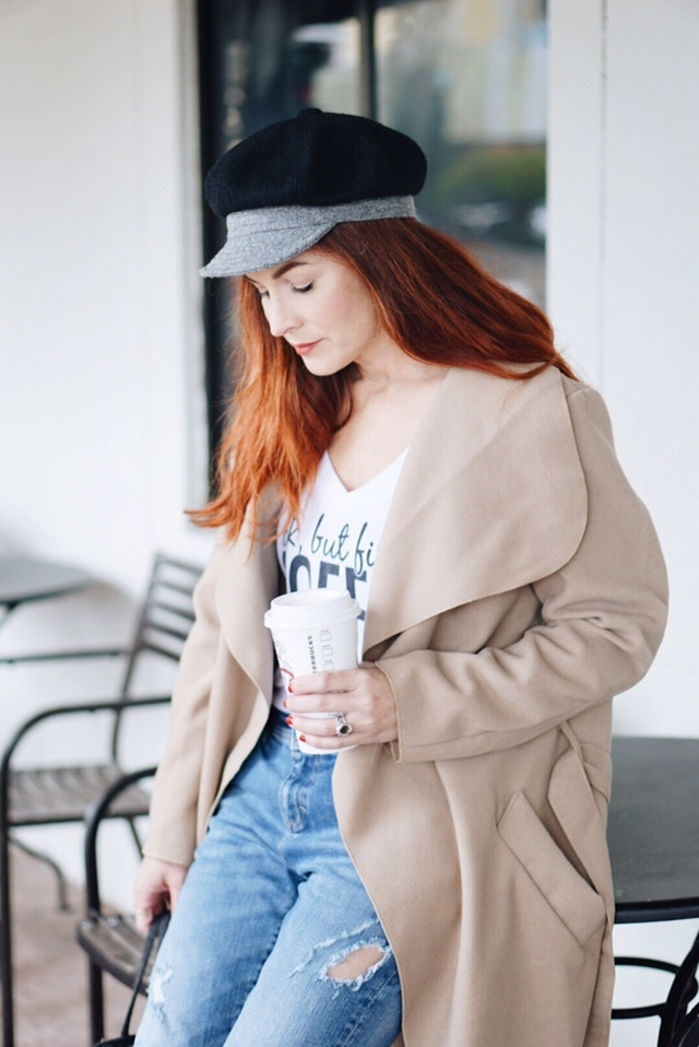 tweed baker boy hat, camel coat, coffee t-shirt, red hair inspo