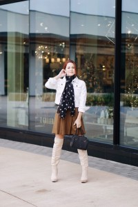 star print, scarf with stars, wool skirt, white denim jacket, over the knee boots, suede boots, wool bag