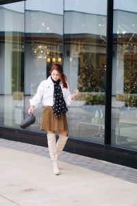 cream otk boots, jacket as tops, black star scarf, olive skirts