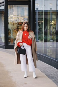 white boots, target, cropped white denim, high waisted pants, red sweater outfits, grey bags,