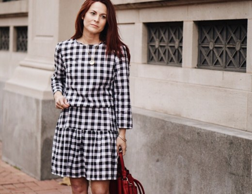 gingham print, black and white dress, white block heel boots, zara bag, red handbag