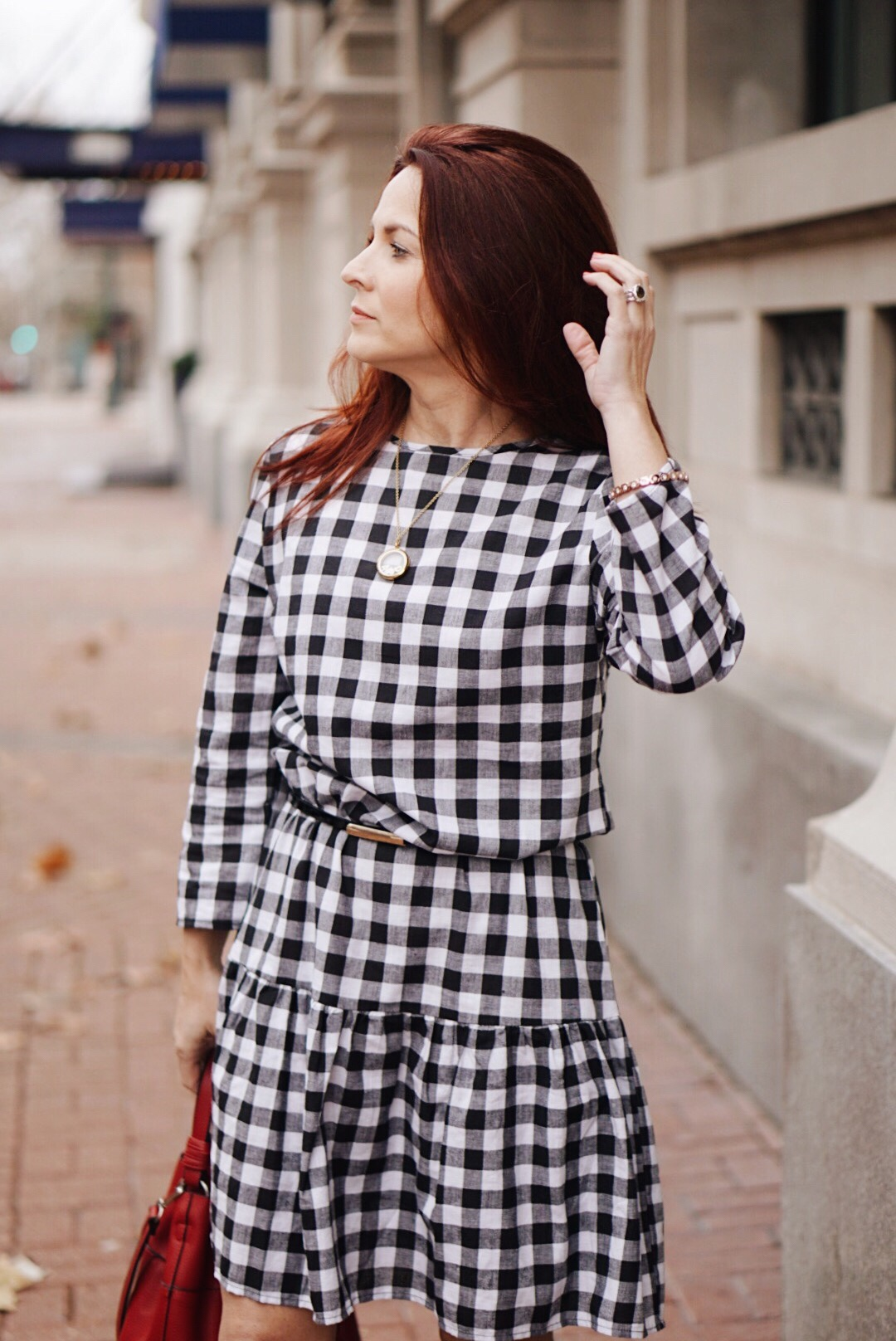 valnetines outfits, red bags, black and white checked dress, black skinny belt
