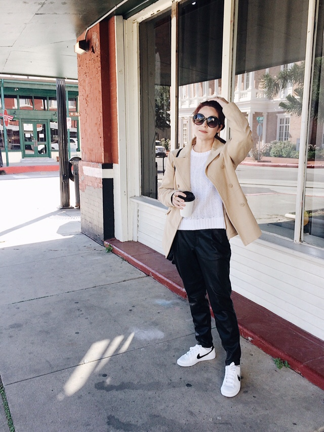 leather pant outfit ideas, casual style, leather trousers, sneakers