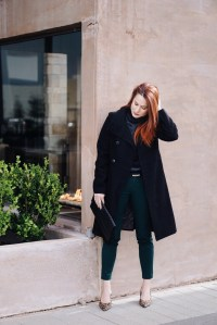 military wool coat outfit ideas, green ankle pant, old navy, leopard heels, black clutch, silk blouses