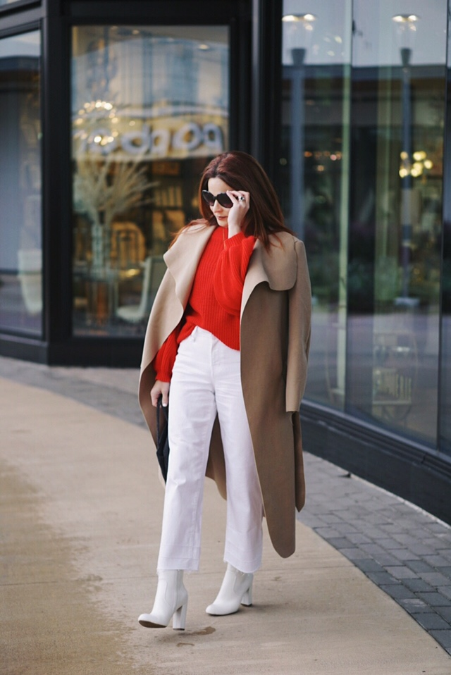 red sweater outfits, white denim, tan duster coat, white boots