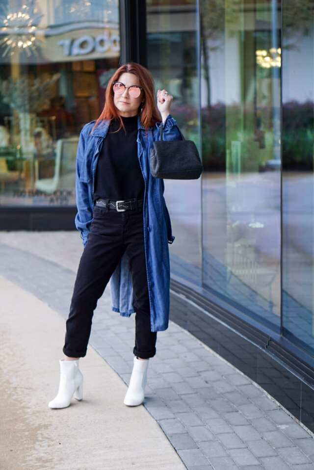 denim trench coat outfits, white boot outfit inspiration, white boots, studded belt, red hair inspiration