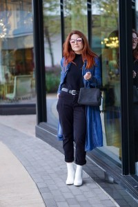 how to style white boots, black pants, denim trench coat, wool bag, casual style