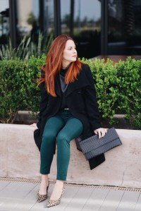 leopard kitten heels, black coat, green ankle pant, black envelope clutch, red hair, black silk blouse