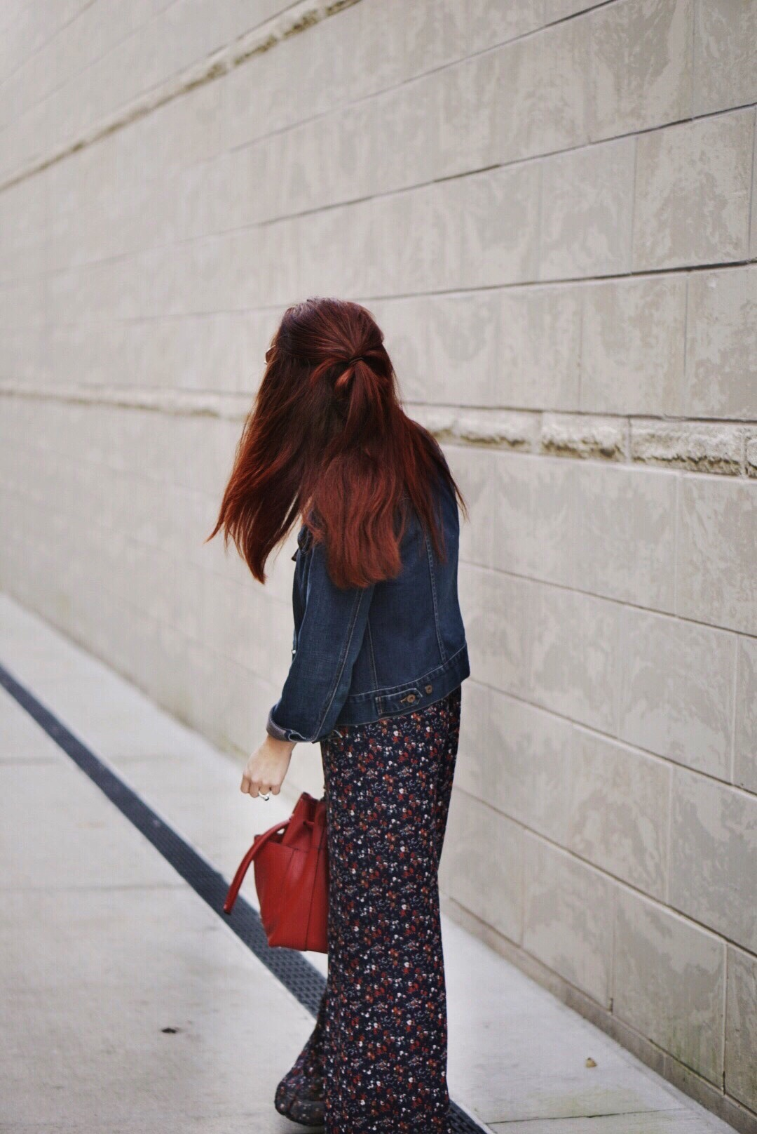 flaral pants, jean jacket, jumpsuit outfits, tips on cutting back in life, red bag