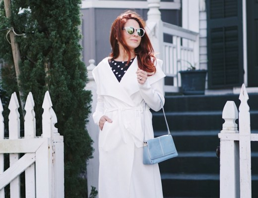chic style, dusters, spring fashion, white coats, light blue bags, white booties