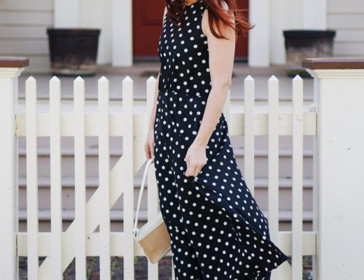 rodeo outfit inspiration, polka dots, polka dot dress, white sneakers, straw bag, cowboy hat, brown fedora hat,