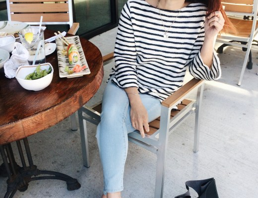 lunch date, sushi, stripes, light wash denim, white mules, retro sunnies, black handbag, old navy, target