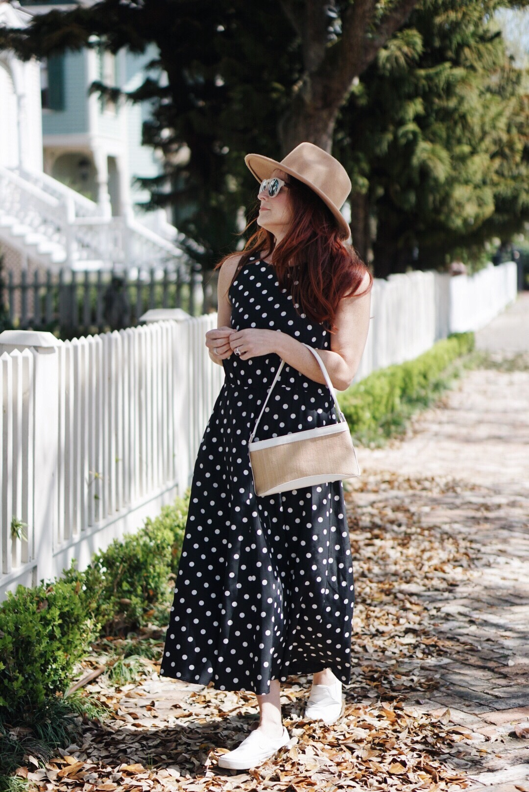straw bag, red hair, country chic style, polka dot dress