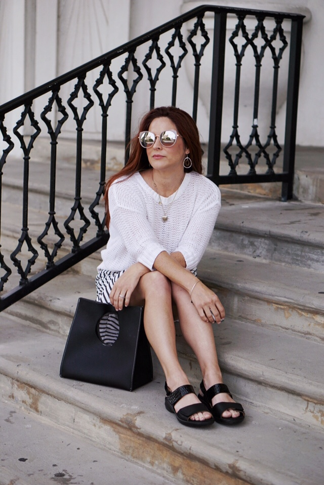 revere shoes, white sweater outfits, stripes, black handbag, comfortable sandals