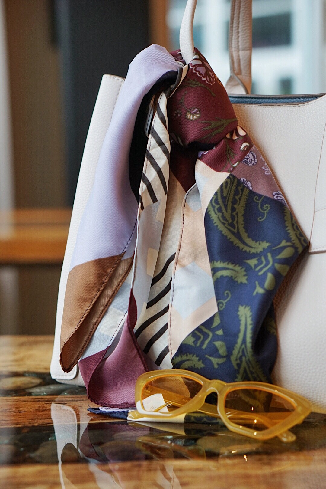silk scarves, accessories for mild fall weather, fashion in jewel tones, how to wear a silk scarf, yellow sunglasses, white tote bags, outfits with a silk scarf