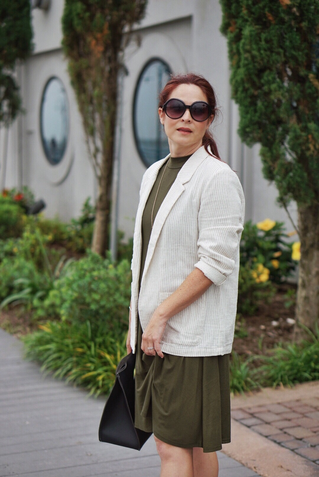 swing dresses, olive green dress, blazer outfit ideas