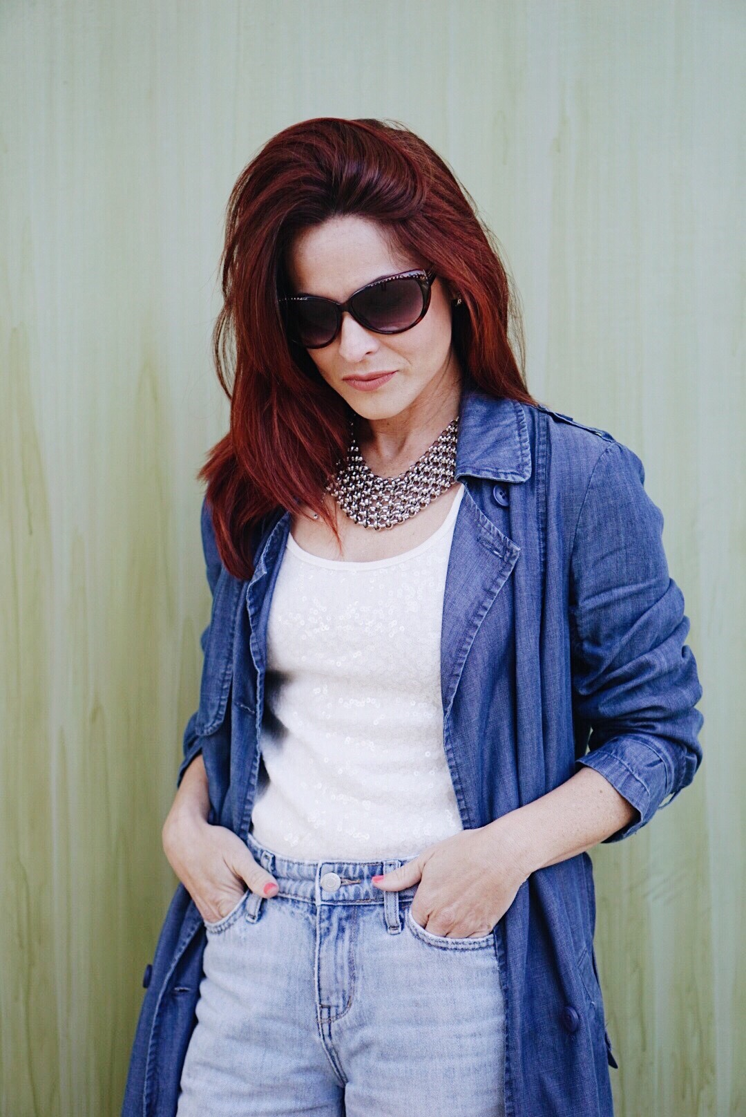 denim on denim ideas, bib necklaces, red hair inspiration, trench coat outfit ideas,