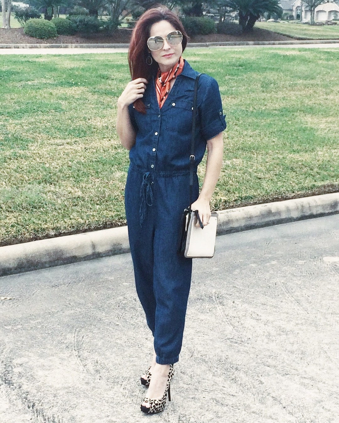 jumpsuits, leopard heels, outfit ideas with silk scarves,