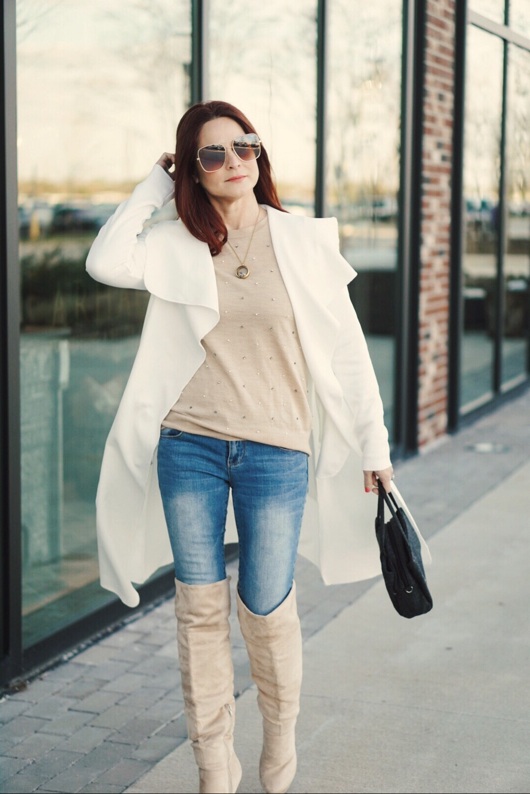 outfit ideas with over the knee boots, cream sweaters, light duster jackets, square sunglasses, boot outfit ideas