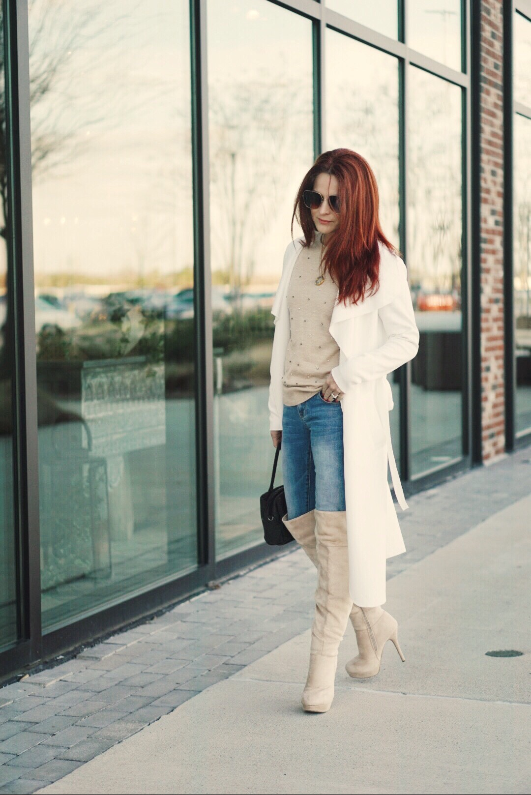 suede boots, cream over the knee boot outfits, blush embellished sweaters, duster coat outfit ideas