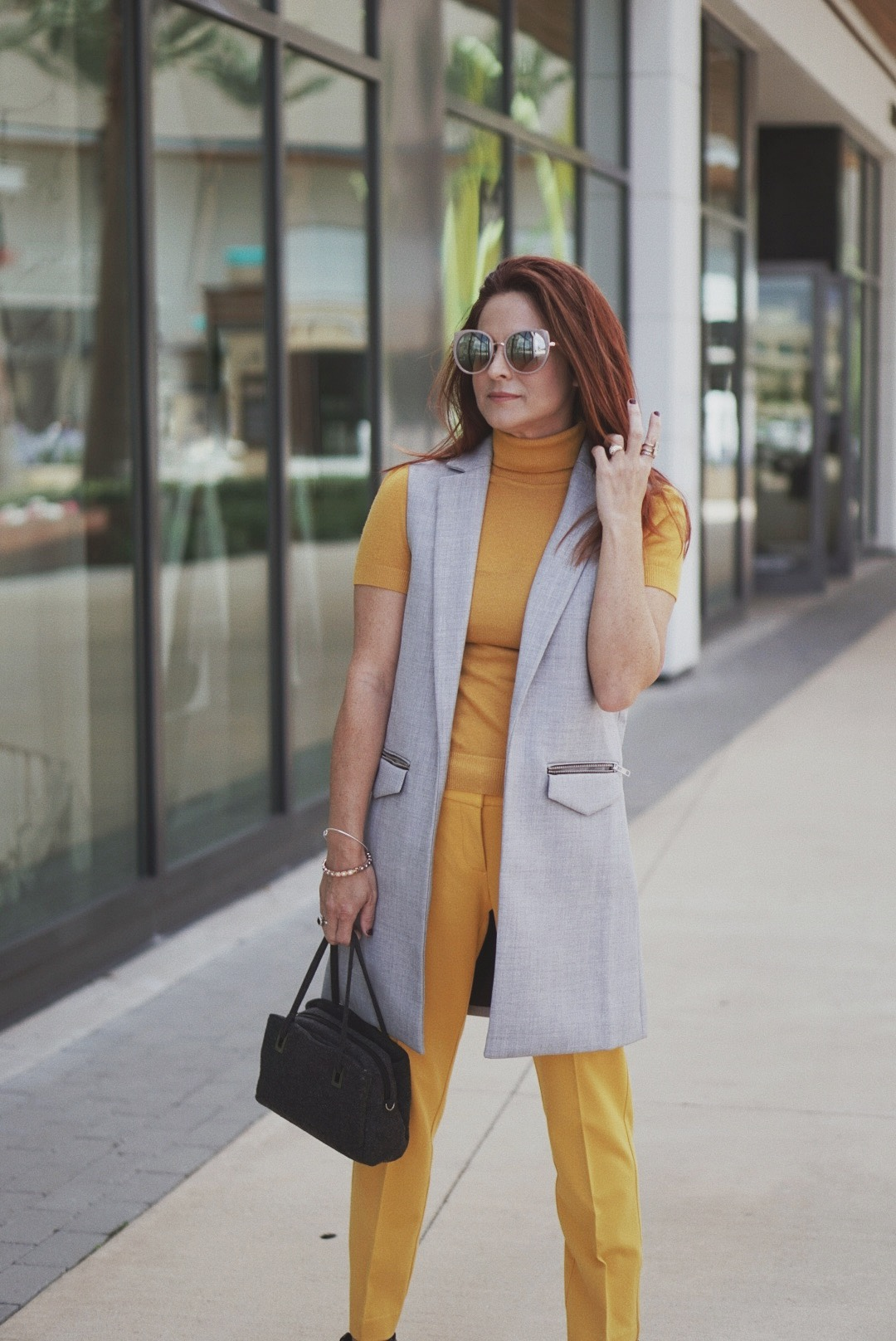 yellow trousers yellow sweater outfits, yellow and grey outfit ideas