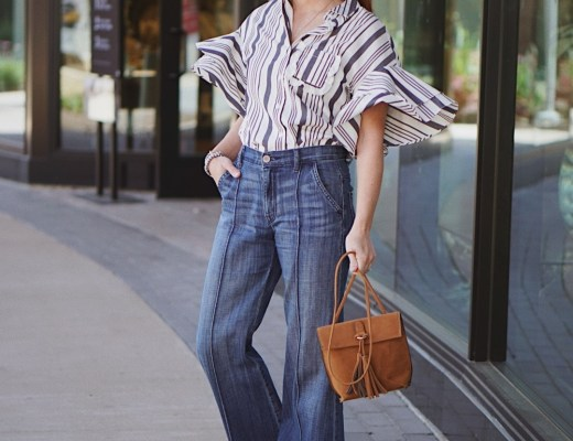 tassel bag, wide leg jeans, flare denim, striped shirts, flutter sleeve tops, how to style flare denim