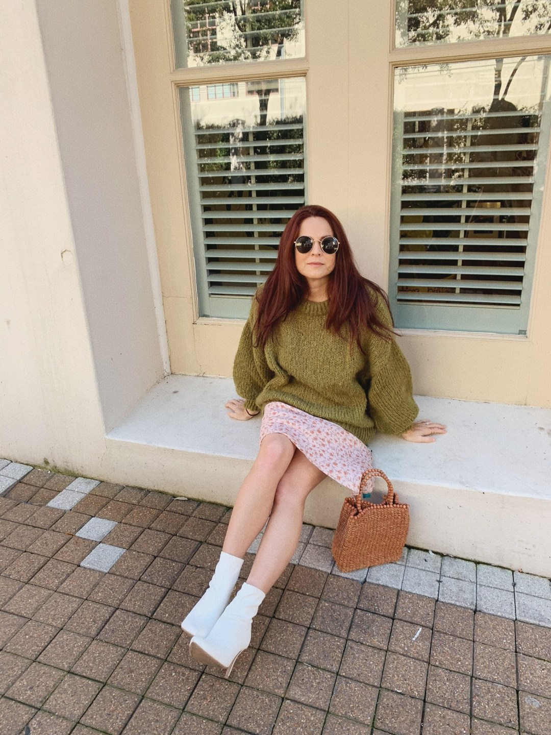 Green sweater and silk midi dress, boot ideas for spring, red hair ideas, olive green outfits, spring bags