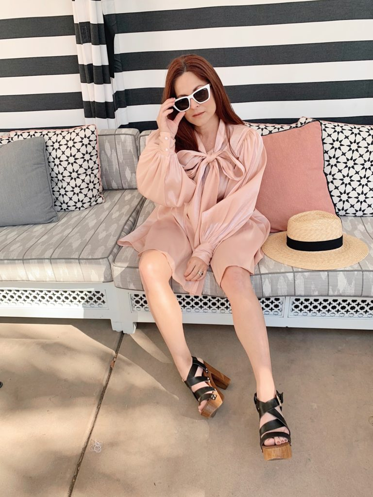 white sunglasses outfits, how to style a satin pink dress, Sands Hotel and Spa