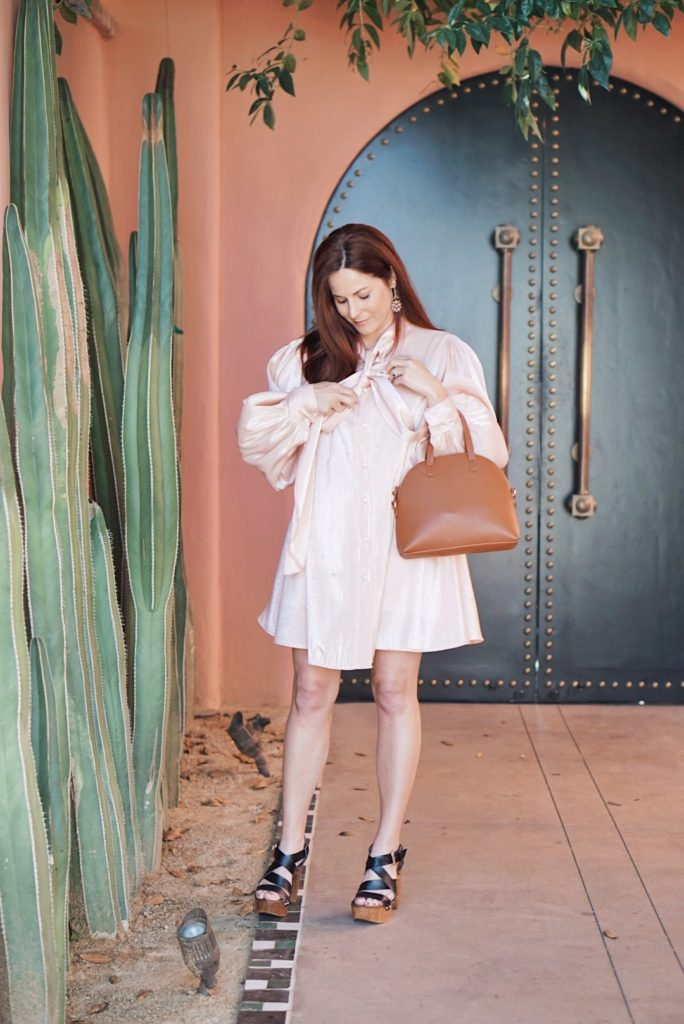 wardrobe adjustments, pink dresses, how to style clogs