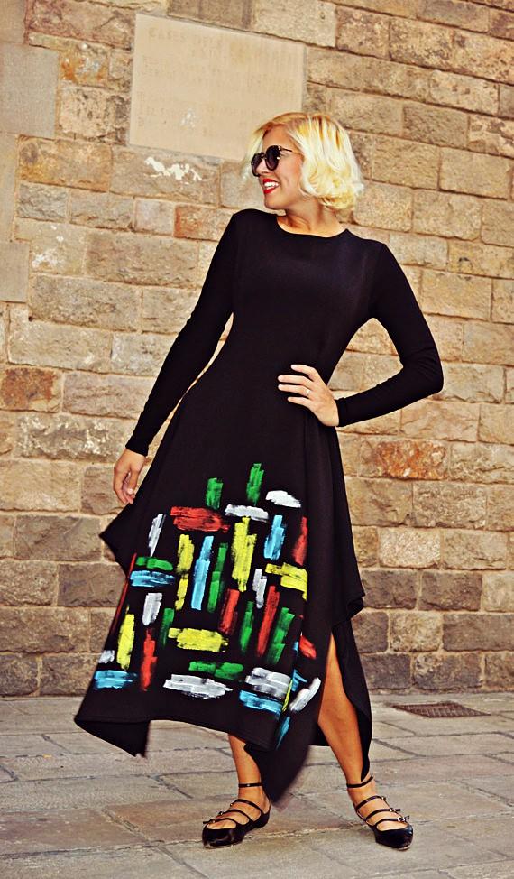 handmade painted maxi dress