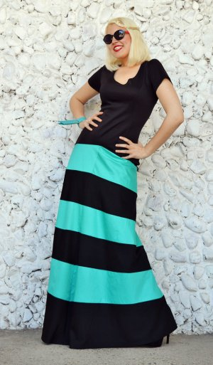 extravagant striped maxi dress
