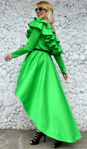 green flounce dress