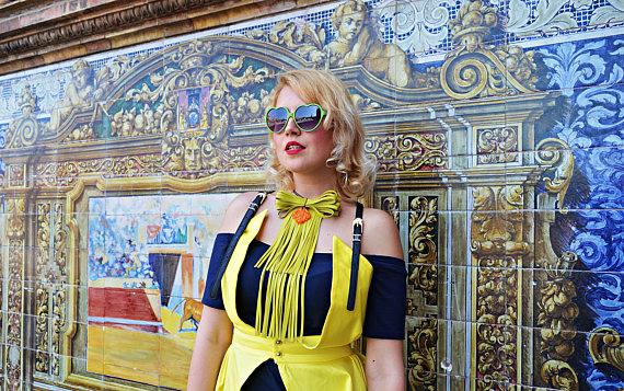 lemon yellow leather necklace