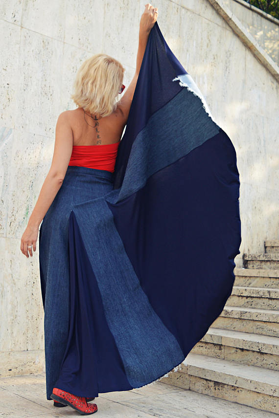 cropped denim skirt