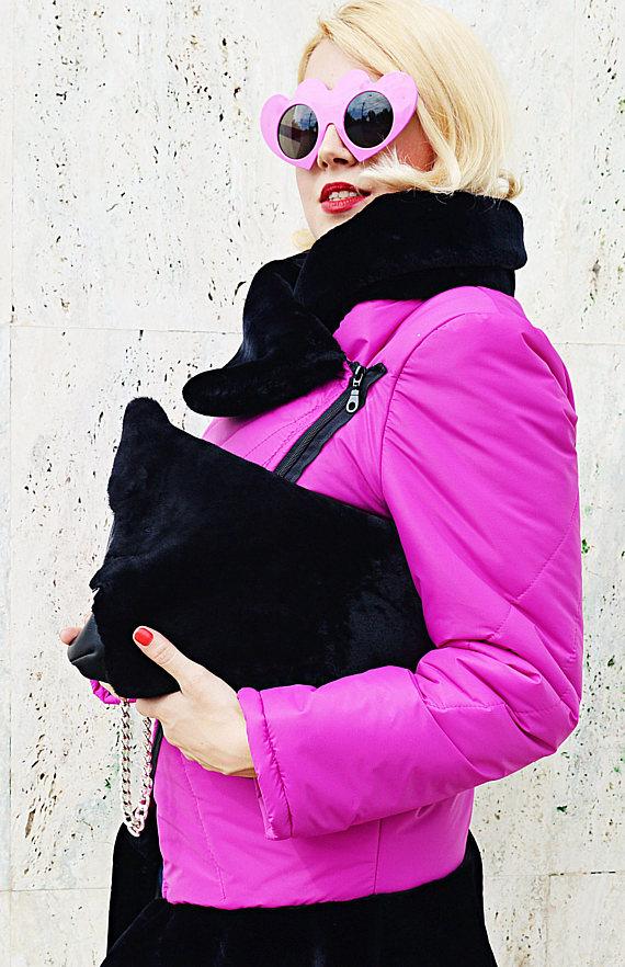 fur leather bag