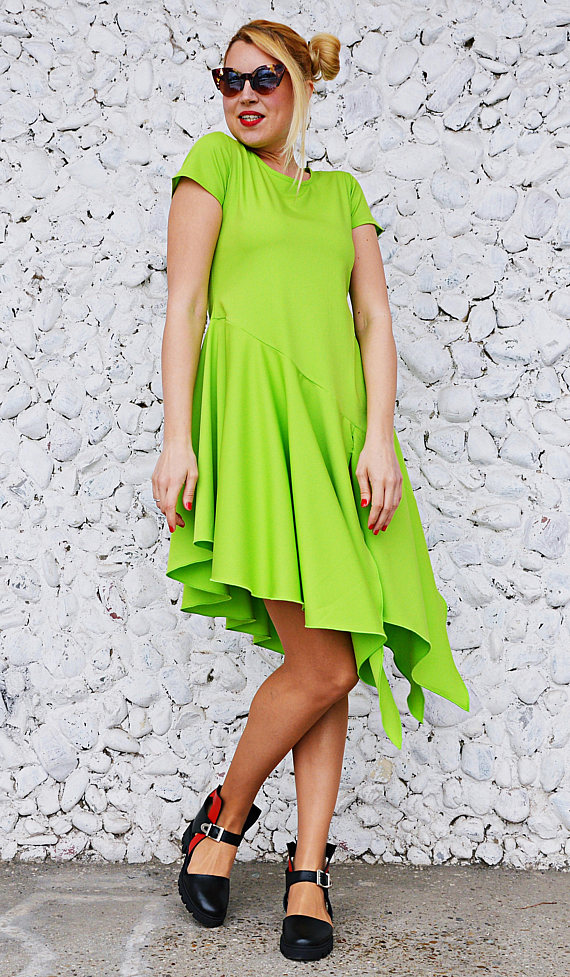 lime polyviscose dress