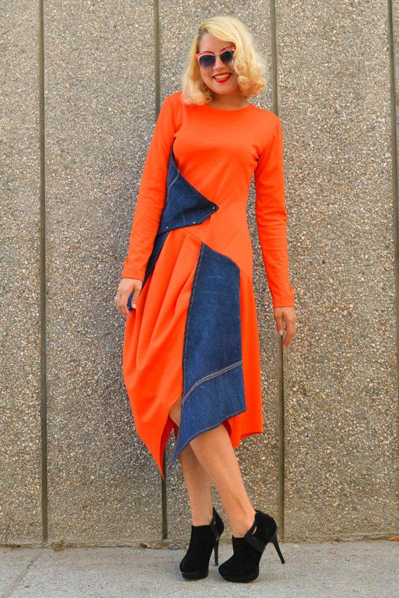 orange jersey dress