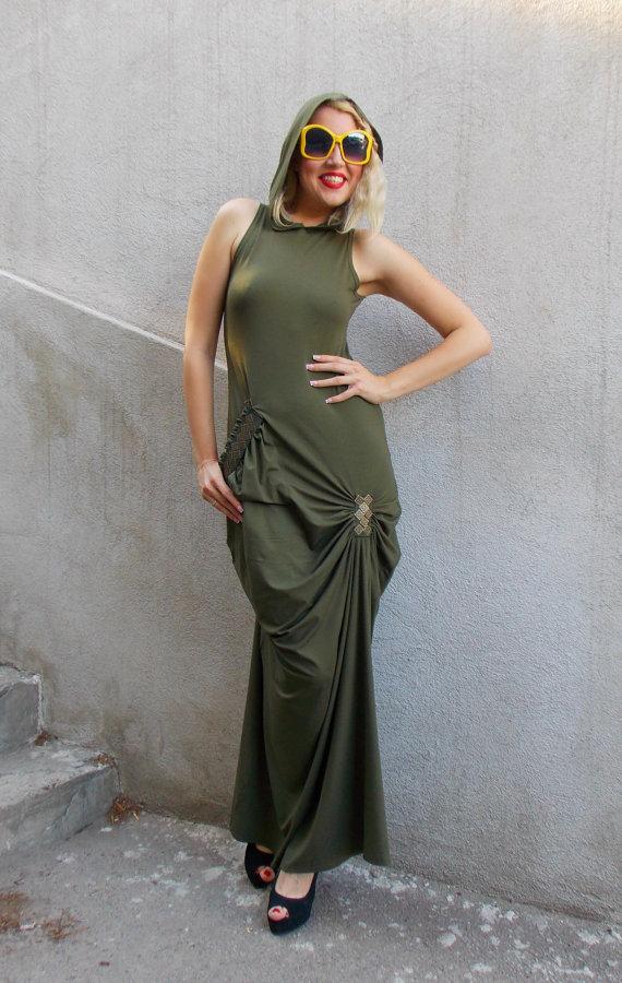 khaki military maxi dress
