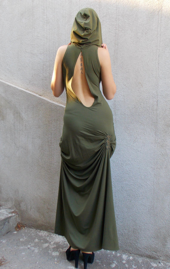 khaki backless dress