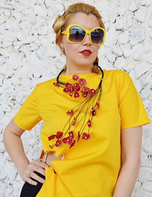 floral genuine leather necklace