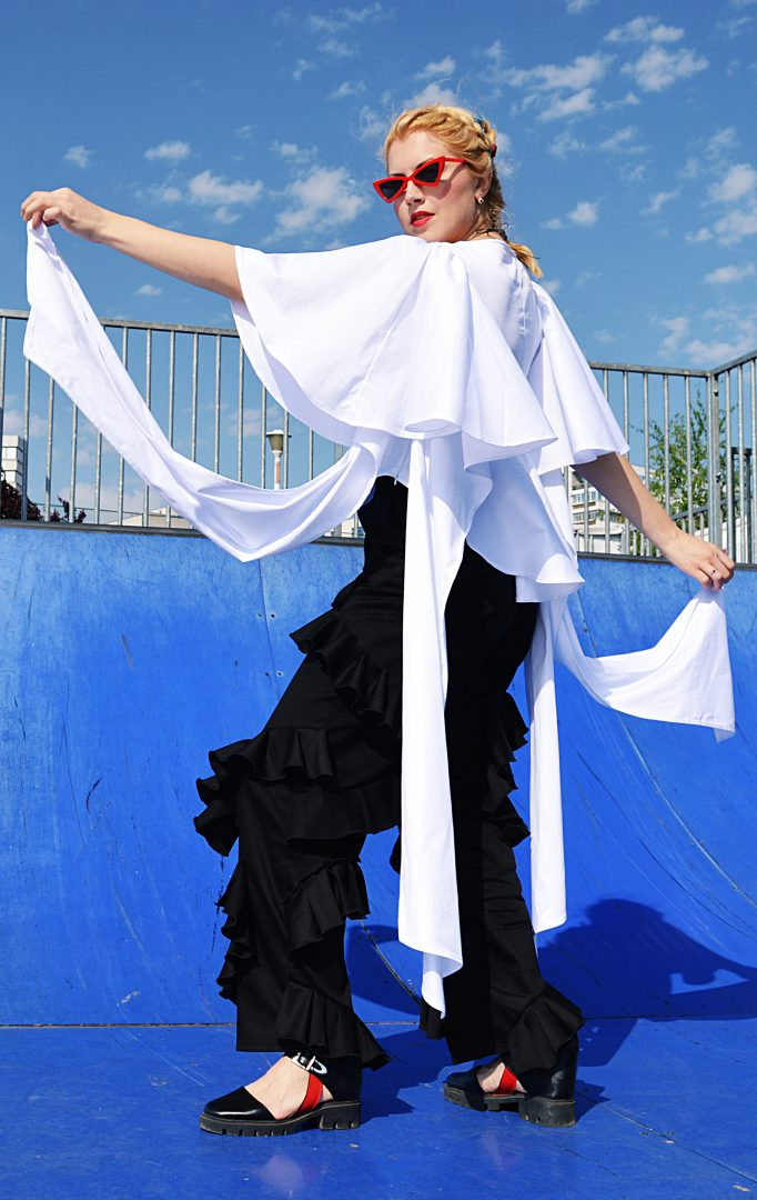 white extravagant top
