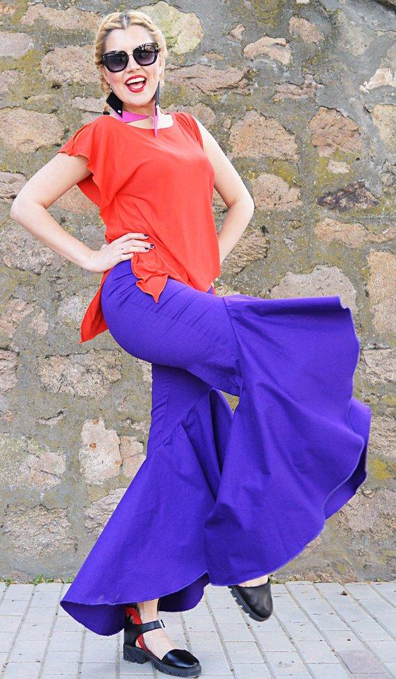 purple flared pants