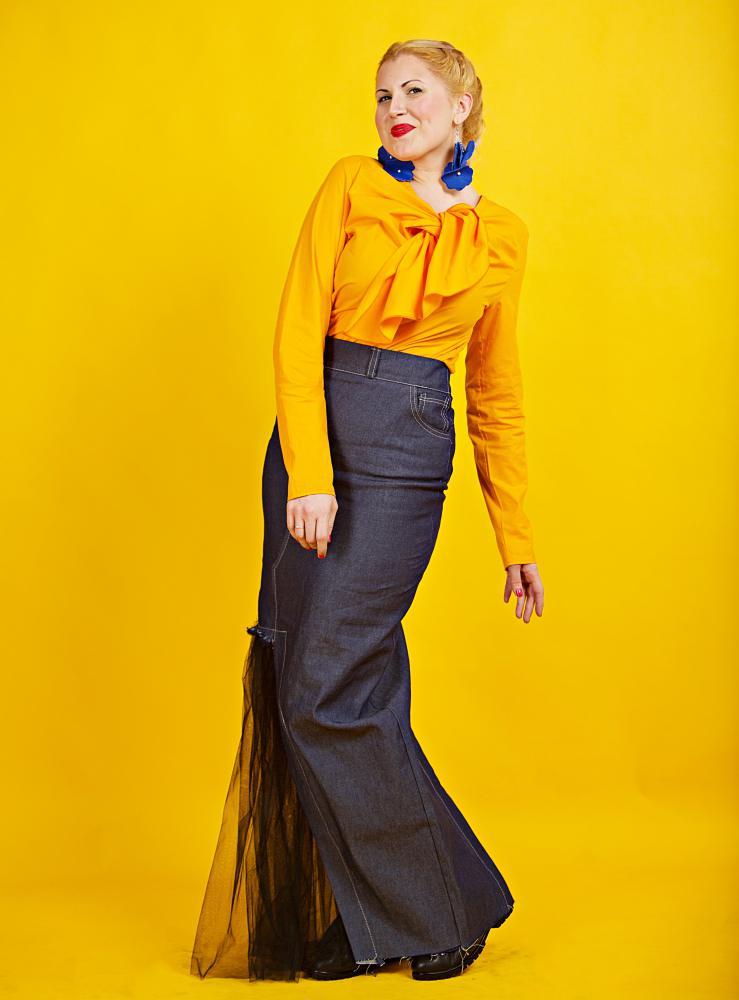 jeans long skirt