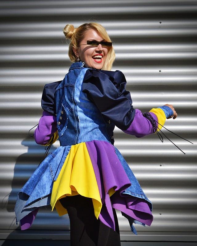 Hipster Denim Jacket for Women Boho Colorblock Jean Coat Grunge Rocker Jacket  Boho Festival Denim Jacket for Women Goth Denim Coat  TC142