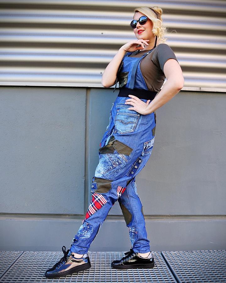denim jumpsuit with patches