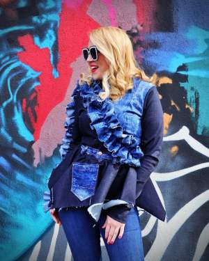 denim ruffles jacket